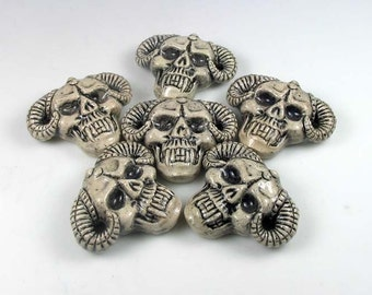 4 Large Skull Beads with Horns