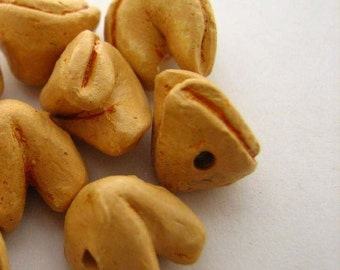 4 Tiny Fortune Cookie Beads