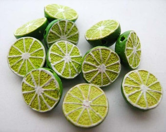 10 Tiny Lime Beads - CB385