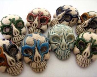 4 Masked Skull Beads