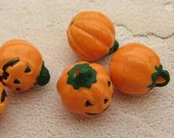 10 Tiny Jack O Lantern Beads - Peruvian Beads - Halloween Beads - Ceramic Beads - Holiday Beads - Trick oTreat beads - pumpkin beads -CB392