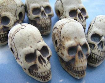 4 Ceramic Beads - Large Highfired Skull Beads - long jaw - HIFI 192