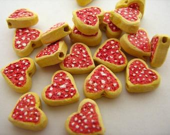 10 Tiny Heart Cookie Beads