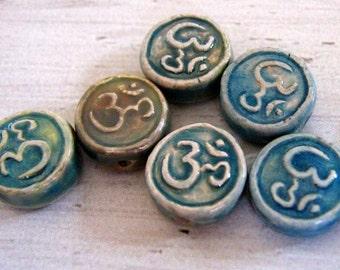 10 Tiny Raku Om Symbol Beads - CB604