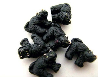 10 Tiny Halloween Cats - Peruvian Beads - Ceramic Beads - Holiday Beads - Halloween Beads - Animal Beads - CB99