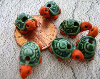 4 Tiny Turtle Beads (cute orange/green) - CB19