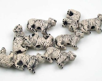 4 Tiny White Tiger Beads