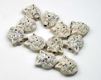 10 Tiny White Tiger Head Beads - CB186