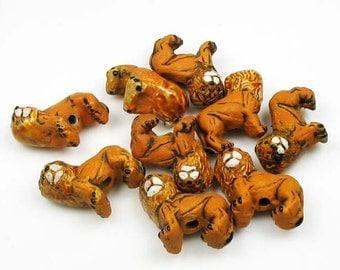 10 Tiny Lion Beads