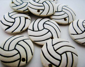 10 Large Ceramic Volleyball Pendants