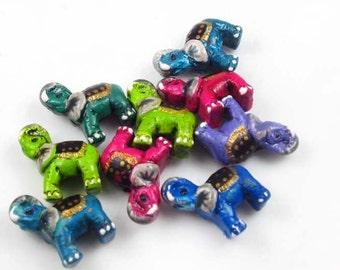 10 Tiny Elephant Beads - mixed colors - CB779