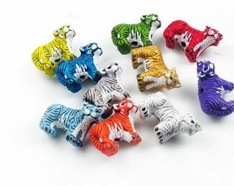 20 Tiny Tiger Beads - mixed colors