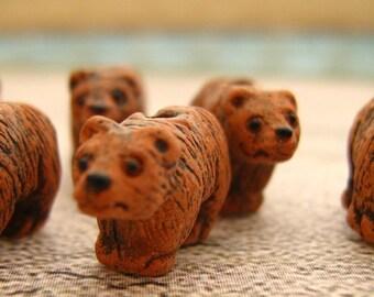 10 Tiny Brown Bear Beads