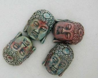 4 Large Raku Buddha Head Pendants - RAK235