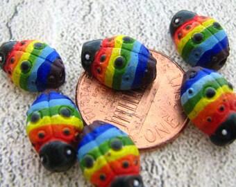 10 Tiny Ladybug Beads - rainbows - CB341