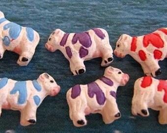4 Tiny Cows - mixed colors - CB609