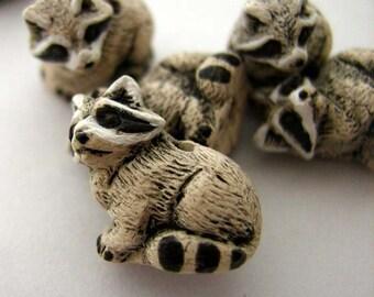 10 Tiny Raccoon Beads
