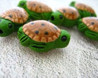 20 Tiny Sea Turtle Beads - ceramic bead, hand painted, peruvian, animal beads, large hole, hemp - CB18