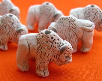 10 Large Buffalo Beads - white