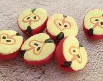 20 Tiny Half Apple Beads - red - CB425