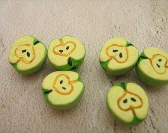 20 Tiny Green Apple Half Beads - CB424