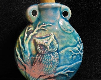 Raku Ceramic Bottle Bead - Owl - RAKBOT68