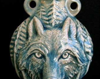 Raku Ceramic Bottle Bead - Wolf