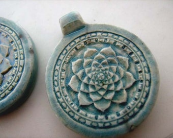 10 Raku Ceramic Lotus beads - pendants, ceramic, hemp, large hole, peruvian - RAK293