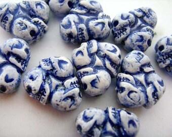 20 Tiny Skull Wheel Beads - Blue - CB617