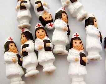 10 Tiny Nurse Beads - Peruvian Beads - Ceramic Beads - Hospital Beads - Medical Beads - First Aid Beads - CB726