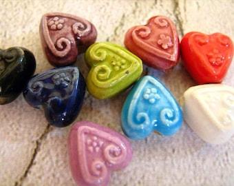 20 Tiny Heart Beads - mixed colors