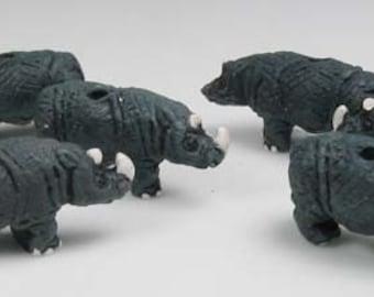 4 Tiny Rhino Beads