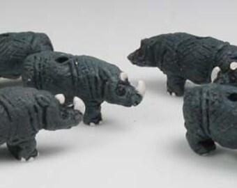 10 Tiny Rhino Beads
