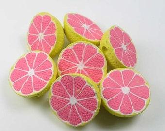 20 Large Grapefruit Beads - Ceramic, Peruvian, Fruit, Breakfast - LG532