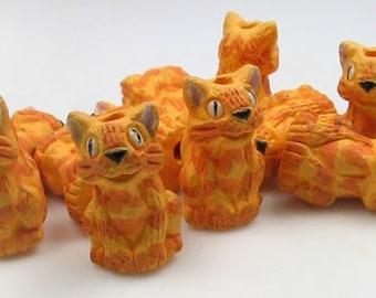 10 Tiny Yellow Realistic Cat Beads - peruvian, ceramic, animals, feline - CB101