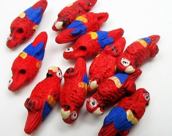 20 Tiny Red and Blue Parrot Beads - CB259