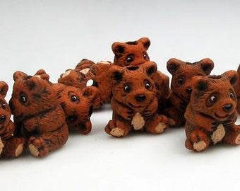 10 Tiny Teddy Bear Beads - CB167