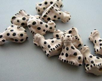 4 Tiny Dalmatian Dog Beads