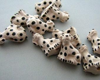 20 Tiny Dalmatian Dog Beads - CB192