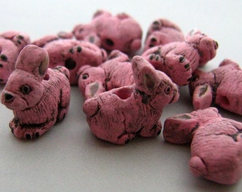 10 Tiny Pink Bunny Beads - CB707