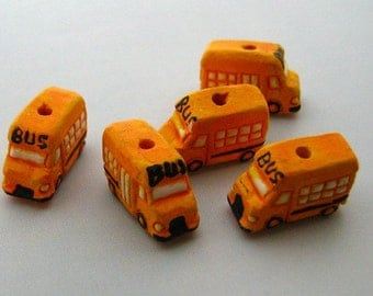 10 Tiny Ceramic Beads -  School Bus - CB456