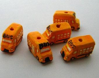 40 Tiny School Bus Beads for Dawn - CB456