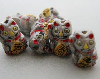 4 Tiny Silver Good Luck Kitty Beads