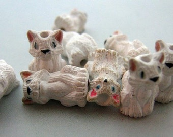 4 Tiny White Realistic Cat Beads - ceramic beads, animal beads, peruvian beads - CB100