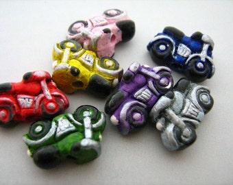 10 Tiny Motorcycle Beads