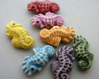 10 Tiny Multi Seahorse Beads - Peruvian, Ceramic, Animal, Marine, Sea - CB56