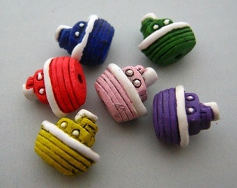 20 Tiny Multi Tug Boat Beads