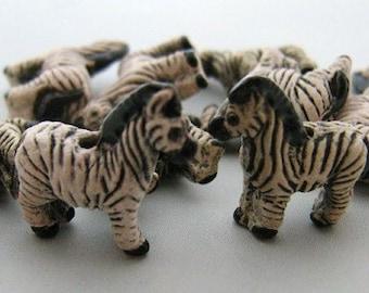 10 Tiny Zebra Beads