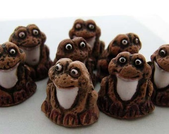 4 Large Brown Frog Beads
