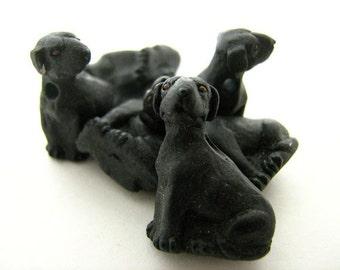 4 Large Black Labrador Beads - CB1123